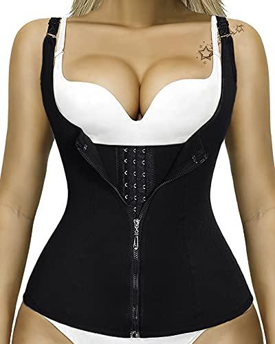 MYVITALITY - Cinturón de sudación para mujer, funda de vientre plano, adelgazante – Chaleco abdominal, camiseta de tirantes de corsé de neopreno + EBOOK ejercicios abdominales ⭐