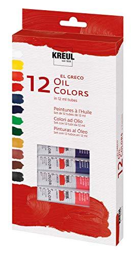 Kreul 26150 - El Greco Ölfarben, Grundausstattung für Schule, Kunst und Studium, 12 x 12 ml