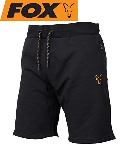 Fox Collection Black Orange LW Shorts - kurze Angelhose für Karpfenangler & Wallerangler, Kurzehose, Sporthose, Hose für Angler, Größe:L
