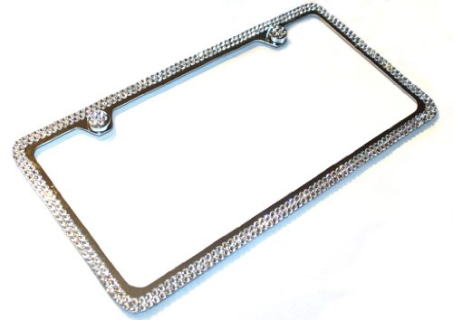 Hotblings 2 Row Clear Made w/Swarovski Crystals Metal Bling License Plate Frame & Caps Set -  1