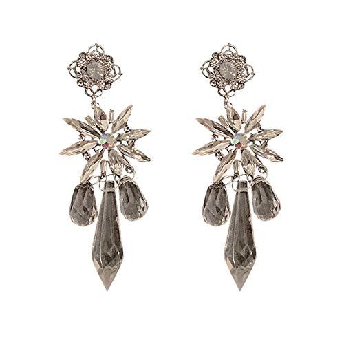 Forma Flor Larga Cristal Diamantes Imitación Moda Para Mujer Niña Fiesta Nupcial Regalo Joyería Oreja Graduación Lujo