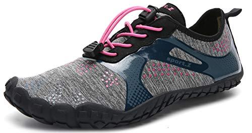 Herren Damen Outdoor Fitnessschuhe Barfußschuhe Trekking Schuhe Badeschuhe Schnell Trocknend rutschfest(Braun Schwarz,39 EU)