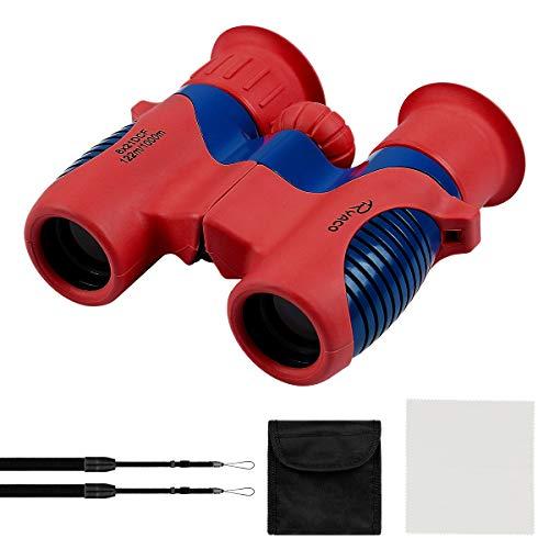 Ryaco Fernglas für Kinder - Mit starker Vergrößerung 8 X 21 – Das Optimale Geschenk für kleine Abenteurer - Umfangreiches Set inklusive Lupe Zum Beobachten von Tieren, Landschaften (Rot & Blau)