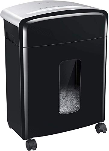 Bonsaii Updated 12-Sheet Micro Cut Paper Shredder with 30-Minute Continuous Running Time, Credit Card Shredders for Office with Pullout Basket, Black(C221-B)