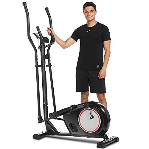 ANCHEER APP Crosstrainer, Ellipsentrainer mit 8 Magnetwiderstandsstufen, Multifunktions-LCD-Monitor, Herzfrequenzsensor und 330 lbs Gewichtskapazität für den Heim-Cardio-Einsatz (Schwarz)