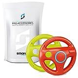 smardy Volante de carreras / Racing Wheel De Dirección rojo + verde compatible con Nintendo Wii y Wii U Remote (Mario Kart, Juego De Carreras...)