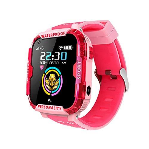 Montre intelligente pour enfants avec GPS LBS Tracker Sport WiFi Localisation SOS Appel Caméra HD Vidéo Appel Horloge Cadeau Poulie Rouge