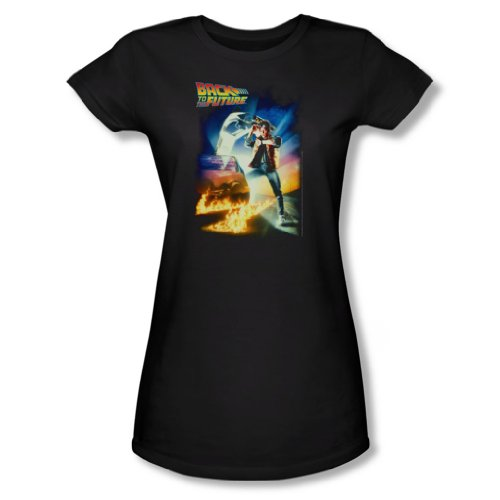 Back To The Future - Mujer Camiseta de Futbol En Negro, X-Large, Black