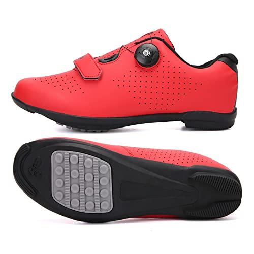 KUXUAN Calzado de Ciclismo Hombre Mujer Calzado de Bicicleta de Carretera Spin Shoestring Calzado de Montar Calzado Peloton,Red-41EU