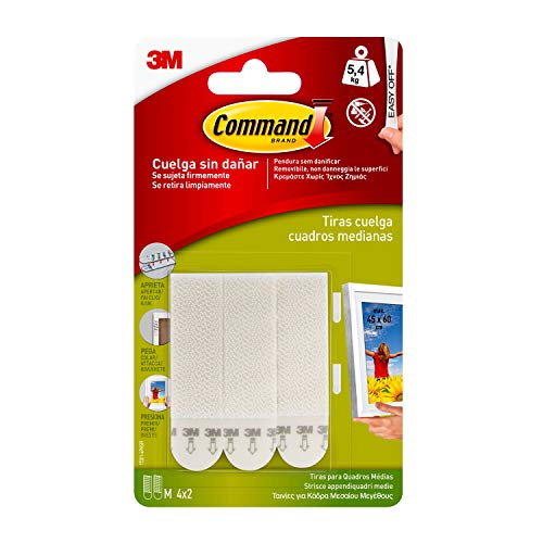 Command 17201 - Pack de 8 tiras para cuadros (medianas, hasta 5.4 kg), color blanco
