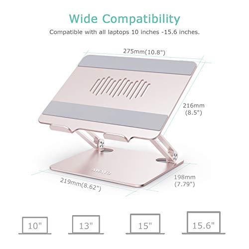 AWAVO Laptop ständer, Ergonomischer Aluminium Computerständer mit Wärmeentlüftung für den Schreibtisch, Laptop Riser Kompatibel mit MacBook Air/Pro, Dell, HP, Lenovo, mehr 10-15,6