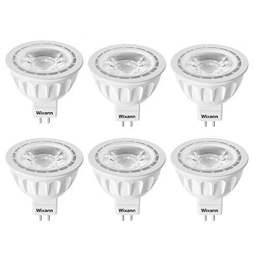 Wixann MR16 LED Light Bulb, 2700K Soft Warm White, 12-Volt, 5W-50W Equivalent, GU5.3 Bi-Pin Base, 36 Degree Spot Lighting for Indoor/Outdoor Landscape Track Bulbs-Not Dimmable (6 Pack)