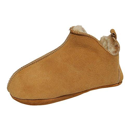 Hollert Lammfell Kinder Hausschuhe Bali Fellschuhe für Jungen & Mädchen mit weicher Sohle Puschen Schuhgröße EUR 23/24, Farbe Cognac