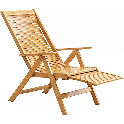 VBARV Sillón de bambú, sillón reclinable Plegable de Madera, Respaldo Alto ergonómico Ajustable de 5 velocidades, fácil de Transportar, Soporte de Carga de 150 kg, para jardín al Aire Libre, Patio