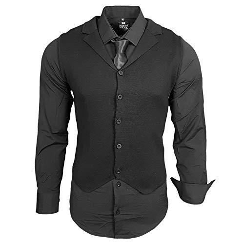 Rusty Neal Herren Hemd Weste Krawatte Set Hemden Business Hochzeit Freizeit Slim Fit, Farbe:Schwarz, Größe:2XL