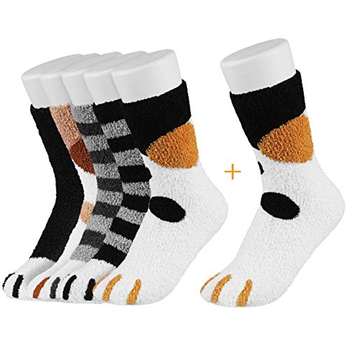 Easycosy Cat Paw Socks -5/6 Paar Cat Claw Socks Design Plüsch Gemütliche Slipper Socke Niedliche Socken Wintersocken Indoor für Damen Lady Girls (fleece 5 style)