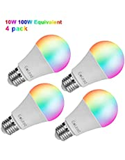 مصباح إضاءة ليد واي فاي RGBCW من ايليد سمارت 10 واط و100 واط متوافق مع اليكسا جوجل هوم - اضاءة متغيرة الالوان اي 27 ضوء متعدد الالوان تطبيق زخرفي مصباح ملون للتحكم عن بعد (10 واط - 4 عبوات)