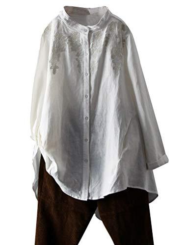 FTCayanz Damen Leinen Bluse Langarmshirt Einfarbig Tunika Langarm Stickerei Hemdbluse mit Knöpfen Weiß L