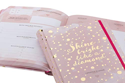 Stilvoller Tagesplaner 2020, 2021. Dein individueller Lebensplaner & Terminkalender um dein Leben zu organisieren. Wochenplaner ohne Datum mit viel ... mit Goldprägung. Stay Inspired! by Lisa Wirth