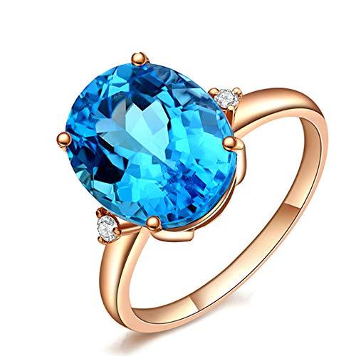 KnSam Bague Femme Fine Topaze Bleue Naturelle Suisse Ovale, Or Rose 18 Carats Élégance Cadeau Noël