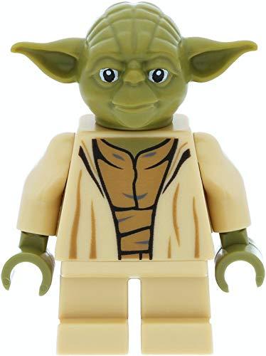 LEGO Star Wars - Minifigure Jedi Meister Yoda (testa color oliva) con asta e spade laser