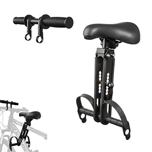Asiento y manillar para niños MTB para niños, asientos de bicicleta de montaña desmontables montados en la parte delantera para niños de 2 a 5 años (hasta 48 libras) compatibles con todas las biciclet
