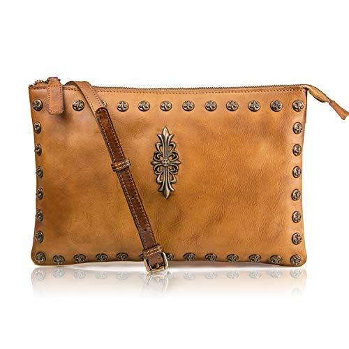 LETEULO Borsa da donna a tracolla media da polso borsa frizione borsa di lusso Marrone