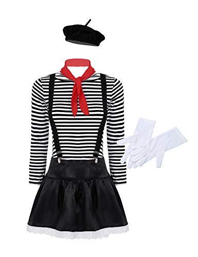 iEFiEL Französisch Pantomime Kostüm Damen Herren Mime-Artist Karnevalskostüm 5/6-Tlg. Set, Baumwolle gestreift T-Shirt Show Kostüm Fasching Party Schwarz Damen L