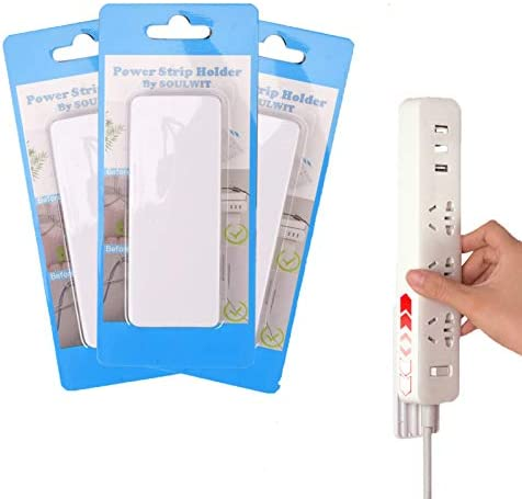 SOULWIT Self Adhesive Power Strip Holder Surge Protector Fixator Wall Mount Punch Free Cable product image