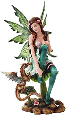 PTC 10 Inch Green Winged Fairy Sitting with Baby Dragon Statue Figurine