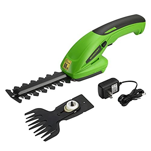 WORKPRO 7.2V 2-in-1 Cordless Grass Shear/Hedge Trimmer, Handheld Shrubbery Trimmer with Charger