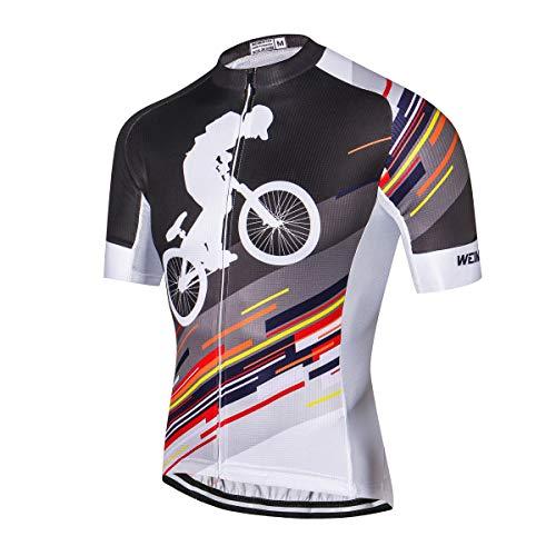 Weimostar - Camiseta de ciclismo para hombre, transpirable, diseño de calavera, manga corta, con 3 bolsillos traseros, tira reflectante de seguridad, Hombre, 33, For Waist 25.5-33' =Tag L