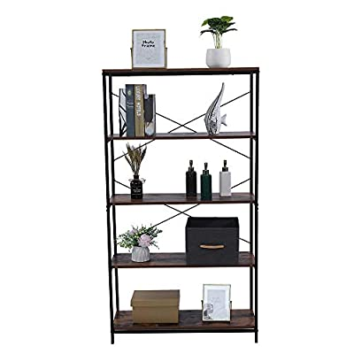 4/5-Tier Shelf Bookcase, Bookshelf Industrial S...