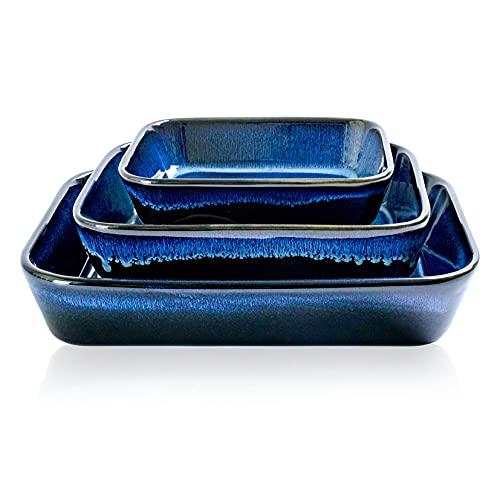 UNICASA 3 PCS Set di Teglie da Forno Rettangolari in Ceramica, Glassa di Reazione, Teglie Forno Antiaderenti, Teglie per Lasagne per Cucinare (Blu)