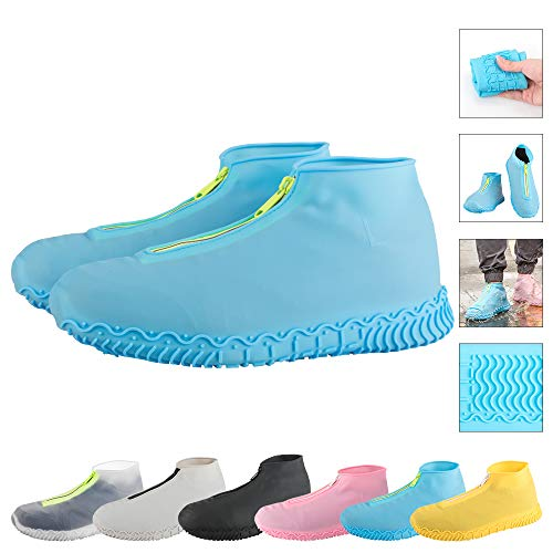 ATOFUL Reusable Silicone Waterproof Shoe Covers, Silicone Shoe Covers with Zipper No-Slip Silicone Rubber Shoe Protectors for Kids,Men and Women (Blue, L)