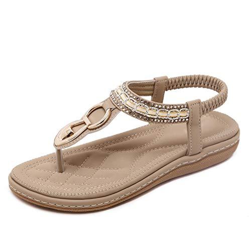 SHIBEVER Summer Sandals for Women Ankle T-Strap Thong Elastic Casual Bohemian Beach Flats Shoes Flip Flops Sandals Apricot 8
