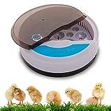Hisunny Incubadora De Huevos De Canarios Humedad Fácil Manipulación Encubadora Pollos Pantalla Digital Iluminación LED para Huevos del Pato, Huevos de Pavo 9 Huevos