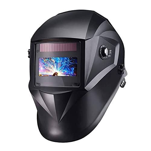 Masque Soudage Automatique, Masque Soudure Classe Optique 1/1/1/1 avec 4 Capteurs, Gamme d'Ombre Complète 4/4-8/9-13, Modes TIG MIG MAG etc, 6 Lentilles de Remplacement