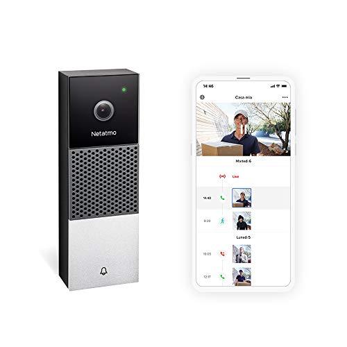 Netatmo NDB-IT - Timbre Inteligente con cámara WiFi, HD 1080p, comunicación bidireccional, detección de Personas, sin abonamiento, visión Nocturna por Infrarrojos, Impermeable, para Exterior, NDB-IT