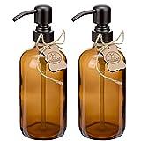 Altglas 2 Stück Seifenspender Sarajevo aus Dicker Braun Glas Flasche im Farmhaus Stil - 500 ml...