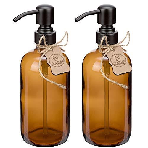 Doppelpack - 2X Seifenspender 'Sarajevo' aus Braun Glas Flasche 500 ml für Flüssig Seife und Lotion mit Edelstahl Pumpkopf in Matt-Schwarz