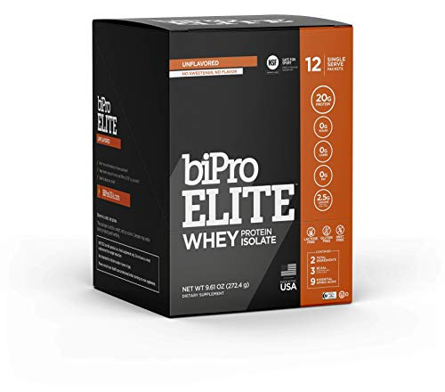 BiPro Elite to-Go 100% Whey Isolate Protein Powder for High-Intensity Fitness, Unflavored, 12 Single-Serve Packets - NSF Certified for Sport, Sugar Free, Suitable for Lactose Intolerance, Gluten Free