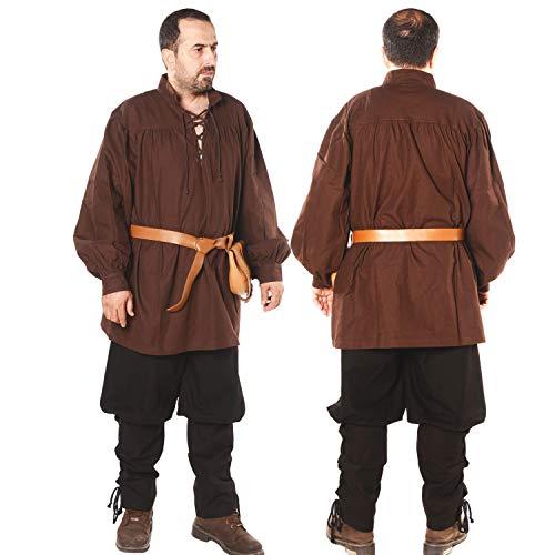 Hermes Herren Hemd, mittelalterlicher Wikinger, LARP Pirat, Baumwolle, hergestellt in der Türkei - Braun - Medium