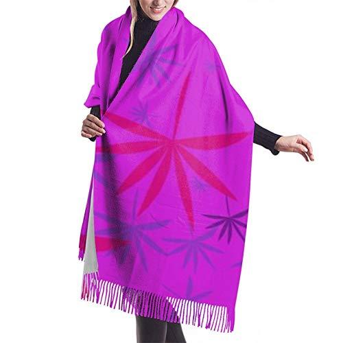Hangdachang Emblema monocromo con hoja de marihuana. El mantón de la bufanda del mantón de la bufanda de la cachemira de las mujeres envuelve hasta 27 * 77 pulgadas