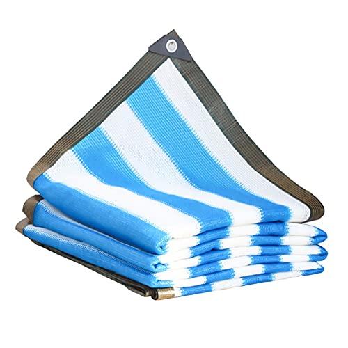 KUAIE Rayas Azules Y Blancas Malla Sombreo Espesar Lona De Malla De Sombra, Aislamiento Térmico Tela para Sombra para Balcones, Patios, Jardines, Azoteas 24 Tamaños (Color : A, Size : 2×6 m)