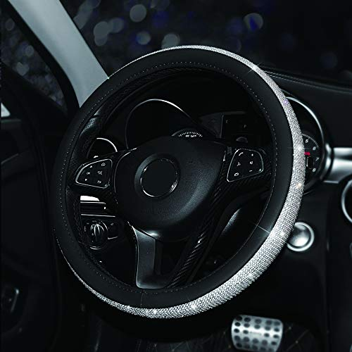 Maso - Funda para volante de coche (piel sintética, antideslizante, 37 – 38 cm), color negro