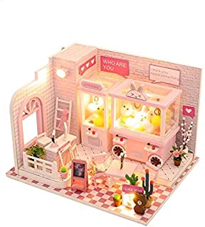 WYD 3D Doll Machine Mini Wooden Toy Dollhouse with LED and Furniture Kit Valentine's Birthday Gift