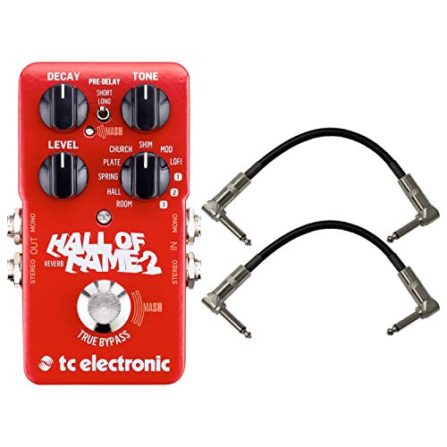 TC Electronic 960661001 Hall of Fame 2 Electric Guitar Reverb Effects Pedal with a Pair of Pedalboard Patch Cables