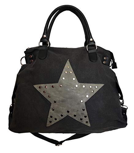 Star Bag Niet Vintage Stern Damen Tasche Fashion Shopper Henkeltasche Canvas Stoff mit Niete (Schwarz)