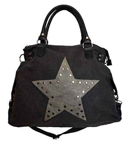 Star Bag Niet Vintage Stern Damen Tasche Fashion Shopper Henkeltasche Canvas Stoff mit Niete (Schwarz)